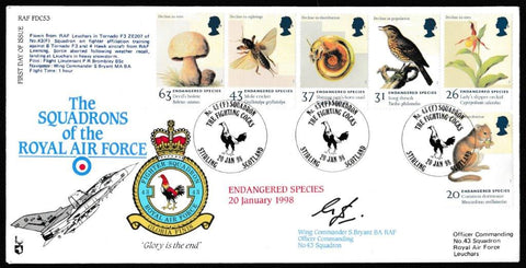 Great Britain First Day Cover, 'Endangered Species (SIGNED)', RAF, No 43 Quadron, Stirling, Scotland, 20-Jan-1998