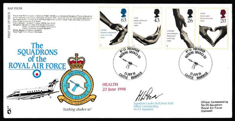 Great Britain First Day Cover, 'National Health Service (SIGNED)', RAF, No 55 Squadron, Castle Bromwich, 23-Jun-1998