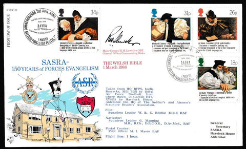 Great Britain First Day Cover, '400th Anniversary of the Welsh Bible (SIGNED)', RAF, BFPS 2159, 01-Mar-1988