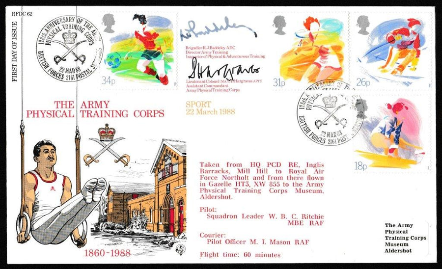 Great Britain First Day Cover, 'Sporting Activities (SIGNED)', RAF, BFPS 2161, 22-Mar-1988