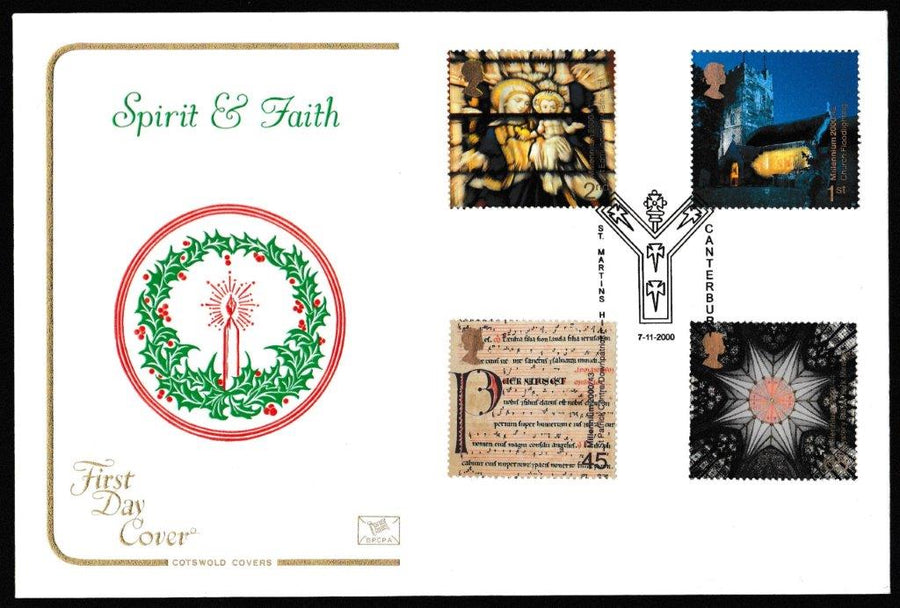 Great Britain First Day Cover, 'Spirit and Faith', Cotswold, St. Martin's Hill, Canterbury, 07-Nov-2000