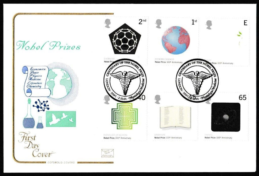 Great Britain First Day Cover, 'The Nobel Prize. Nobel Institute Centenary', Cotswold, Centenary of the Nobel Prize, London, NW1, 02-Oct-2001