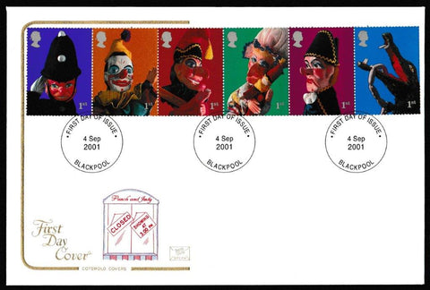 Great Britain First Day Cover, 'Punch & Judy - Se-tenant ', Cotswold, Blackpool, 04-Sep-2001