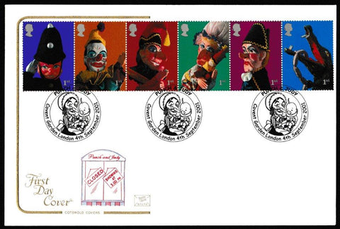 Great Britain First Day Cover, 'Punch & Judy - Se-tenant ', Cotswold, Covent Garden, London , 04-Sep-2001