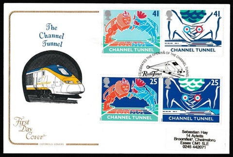Great Britain First Day Cover, 'Channel Tunnel', Cotswold, Radio Times, Folkestone, 03-May-1994