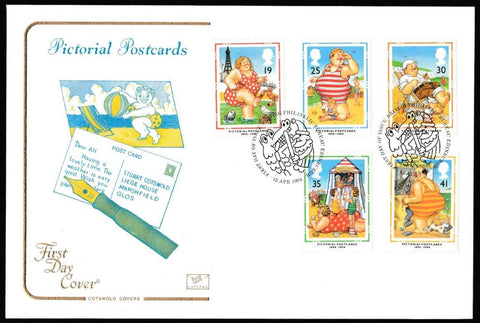 Great Britain First Day Cover, 'Pictorial Postcards 1894-1994', Cotswold, Philatelic Bureau, Edinburgh, 12-Apr-1994