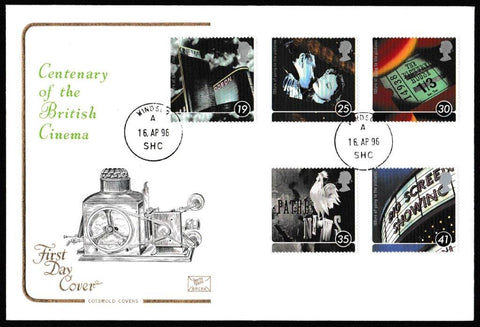 Great Britain First Day Cover, '100 Years of the Cinema', Cotswold, Windsor, 16-Apr-1996