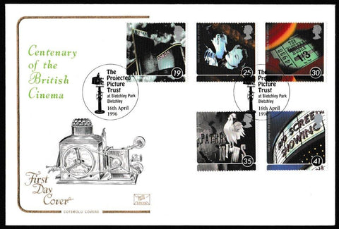 Great Britain First Day Cover, '100 Years of the Cinema', Cotswold, Bletchley Park, Bletchley, 16-Apr-1996