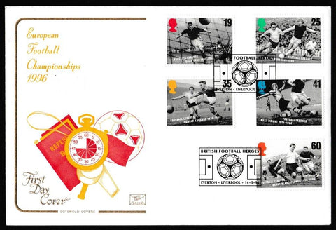 Great Britain First Day Cover, 'Football Legends', Cotswold, Football Heroes, Liverpool/Everton, 14-May-1996