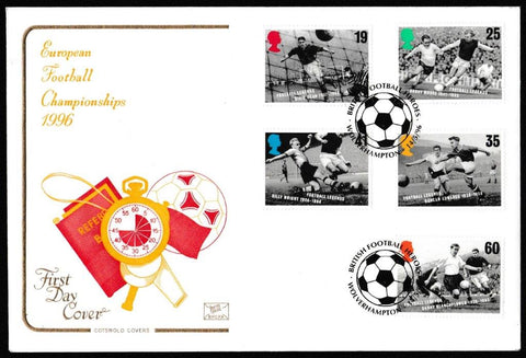 Great Britain First Day Cover, 'Football Legends', Cotswold, British Football Heroes, Wolverhampton, 14-May-1996