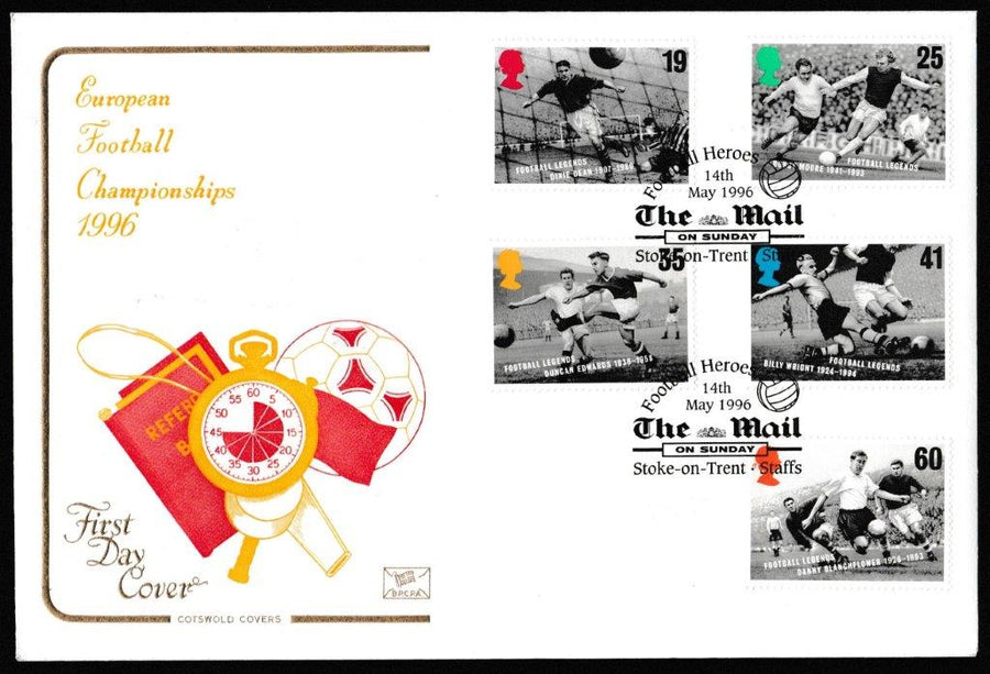 Great Britain First Day Cover, 'Football Legends', Cotswold, Mail on Sunday, Stoke-on-Trent, 14-May-1996