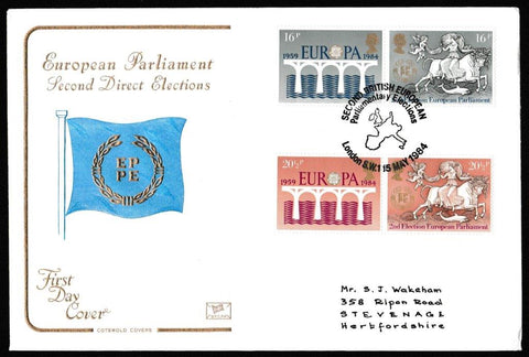 Great Britain First Day Cover, 'Europa Issue', Cotswold, Second British European Parliamentary Elections, London SW15, 15-May-1984