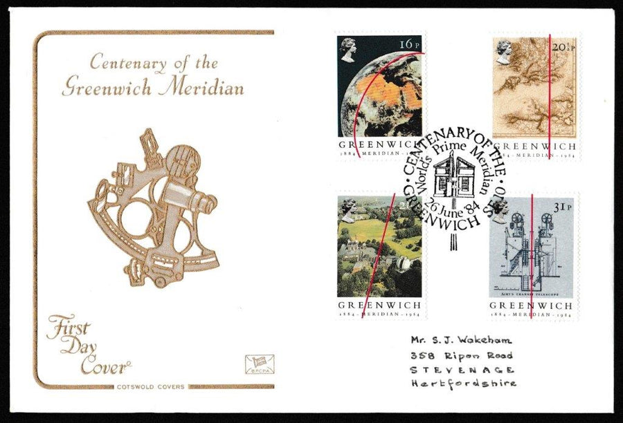 Great Britain First Day Cover, 'Greenwich Meridien Centenary', Cotswold, Centenary of the Worlds Prime Meridian, Greenwich SE10, 26-Jun-1984
