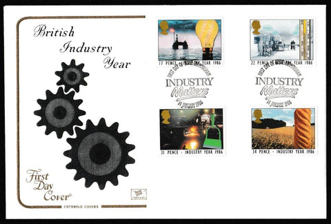 Great Britain First Day Cover, 'Industry Year', Cotswold, Birmingham, 14-Jan-1986
