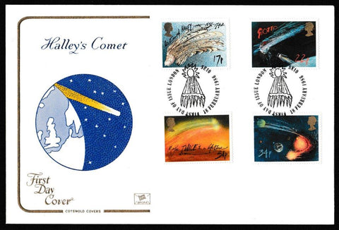 Great Britain First Day Cover, 'Halley's Comet', Cotswold, London, SE10, 18-Feb-1986