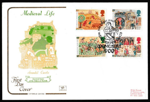 Great Britain First Day Cover, '900th Anniversary of the Domesday Book', Cotswold, The Great Hall, Winchester, Hants, 17-Jun-1986