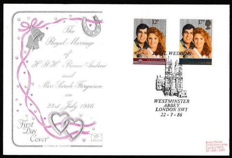 Great Britain First Day Cover, 'The Royal Wedding', Cotswold, Royal Wedding, Westminster Abbey, London, SW1, 22-Jul-1986