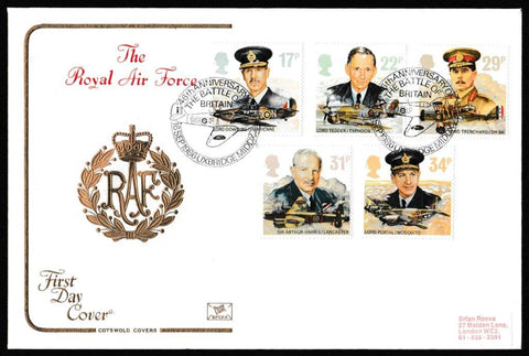 Great Britain First Day Cover, 'The Royal Air Force', Cotswold, 46th Anniversary Battle of Britain, Uxbridge, Middx, 16-Sep-1986