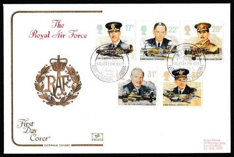 Great Britain First Day Cover, 'The Royal Air Force', Cotswold, Kenley Aerodrome Salutes the RAF, Kenley, Surrey, 16-Sep-1986