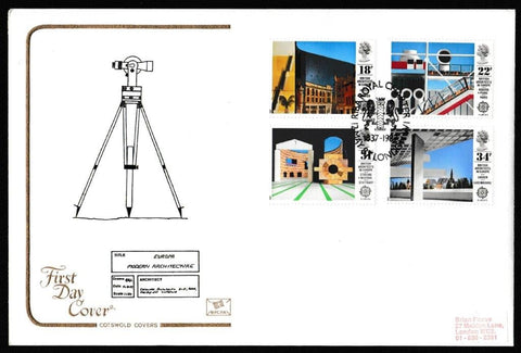 Great Britain First Day Cover, 'British Architects in Europe', Cotswold, RIBA Royal Charter, London, W1, 12-May-1987