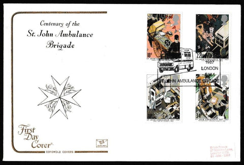 Great Britain First Day Cover, 'Centenary St. John Ambulance', Cotswold, St John Ambulance Brigade, London, SW1, 16-Jun-1987