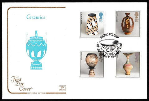 Great Britain First Day Cover, 'British Studio Pottery', Cotswold, Potters Corner, Ashford, Kent, 13-Oct-1987