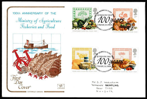 Great Britain First Day Cover, 'Food & Farming Year', Cotswold, Ministry of Agriculture, Fisheries and Farming, London, 07-Mar-1989