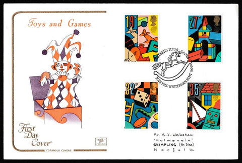 Great Britain First Day Cover, 'Games & Toys', Cotswold, Toys Hill, Westerham, Kent, 16-May-1989