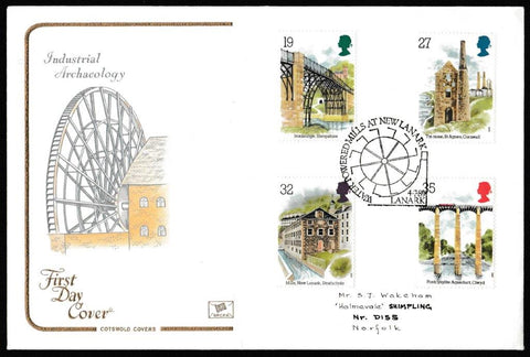 Great Britain First Day Cover, 'Industrial Archaeology', Cotswold, Water Powered Mills at New Lanark, , 04-Jul-1989