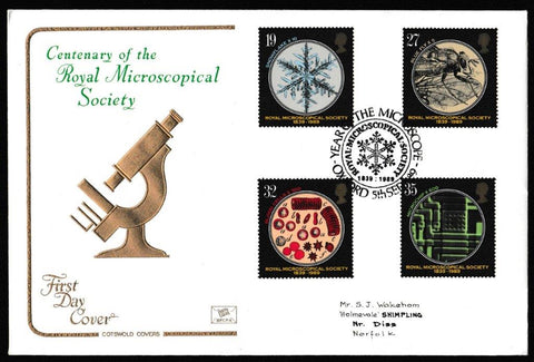 Great Britain First Day Cover, '150th Anniversary Royal Microscopical Society', Cotswold, Royal Microscopial Society, Oxford, 05-Sep-1989