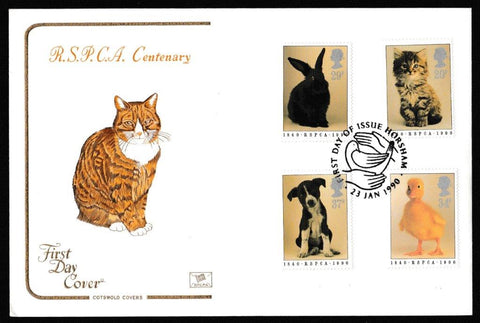 Great Britain First Day Cover, '150th Anniversary RSPCA', Cotswold, Horsham, 23-Jan-1990