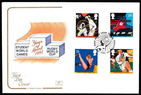 Great Britain First Day Cover, 'Sport - World Student Games - Rugby World Cup', Cotswold, Sheffield, 11-Jun-1991