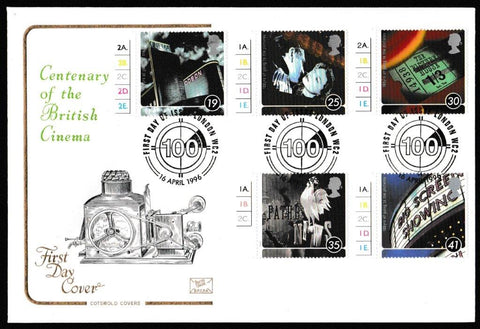 Great Britain First Day Cover, '100 Years of the Cinema', Cotswold, London, WC2, 16-Apr-1996