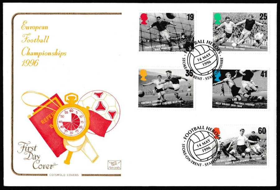 Great Britain First Day Cover, 'Football Legends', Cotswold, Football Heroes, Stoke-on-Trent, 14-May-1996
