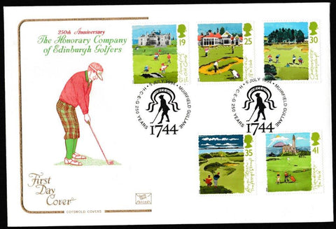 Great Britain First Day Cover, 'Golf', Cotswold, 250 Years, Muirfield, Guillane, 05-Jul-1994