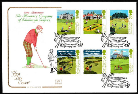 Great Britain First Day Cover, 'Golf', Cotswold, 250 Years of Golf, Royal Troon, Troon, 05-Jul-1994