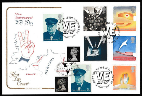Great Britain First Day Cover, 'Peace and Freedom', Cotswold, VE Day, London, EC4, 02-May-1995