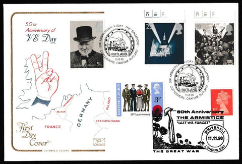 Great Britain First Day Cover, 'Peace and Freedom', Cotswold, 50th Anniversary VJ Day Singapore, Cottesmore, Oakham, Rutland, 02-May-1995