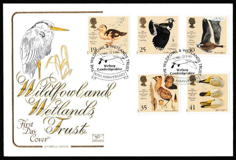 Great Britain First Day Cover, 'The Wildfowl and Wetlands Trust', Cotswold, Wildfowl and Wetland Trust, Welney, Cambridgeshire, 12-Mar-1996