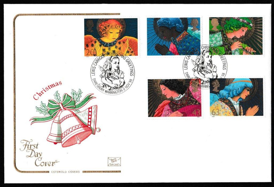 Great Britain First Day Cover, 'Christmas 1998', Cotswold, Lewis Carroll's Christmas Greetings, Daresbury, Warrington, 02-Nov-1998