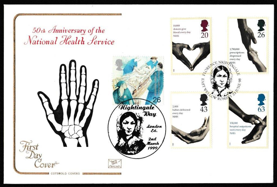 Great Britain First Day Cover, 'National Health Service', Cotswold, Florence Nightingale, East Wellow, Romsey, 23-Jun-1998