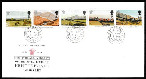Great Britain First Day Cover, '25th Anniversary of the Investiture of the Prince of Wales', Royal Mail, House of Commons, London, SW1, 01-Mar-1994