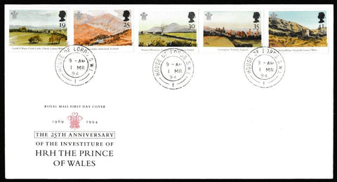 Great Britain First Day Cover, '25th Anniversary of the Investiture of the Prince of Wales', Royal Mail, House of Lords, London, SW1, 01-Mar-1994