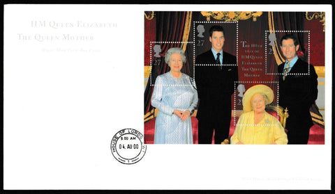 Great Britain First Day Cover - Mini Sheet, 'Queen Elizabeth the Queen Mothers 100th Birthday - Mini Sheet', Royal Mail, House of Lords, London, SW1, 04-Aug-2000