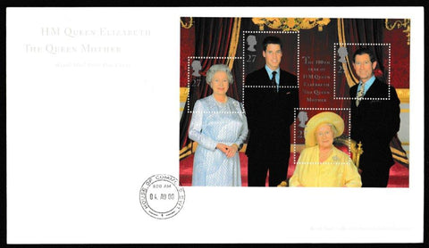 Great Britain First Day Cover - Mini Sheet, 'Queen Elizabeth the Queen Mothers 100th Birthday - Mini Sheet', Royal Mail, House of Commons, London, SW1, 04-Aug-2000
