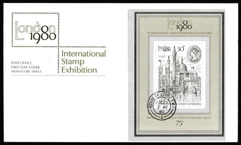 Great Britain First Day Cover, 'London 1980 - Miniature Sheet', Royal Mail, House of Lords, London, SW1, 07-May-1980