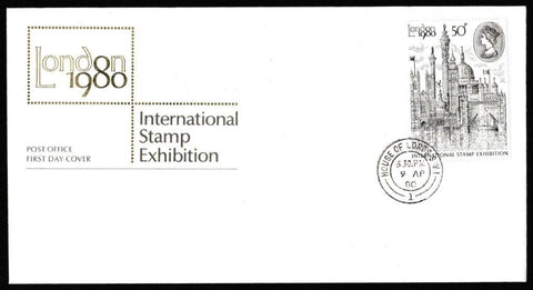 Great Britain First Day Cover, 'London 1980 International Stamp Exhibition', Royal Mail, House of Lords, London, SW1, 09-Apr-1980