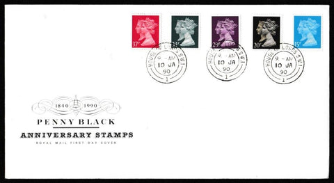 Great Britain First Day Cover, '150th Anniversary of the Penny Black', Royal Mail, House of Lords, London, SW1, 10-Jan-1990