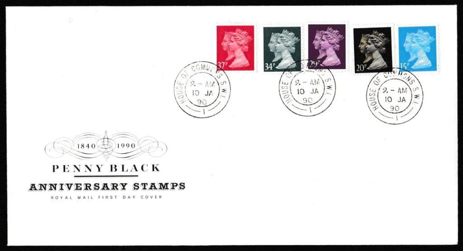 Great Britain First Day Cover, '150th Anniversary of the Penny Black', Royal Mail, House of Commons, London, SW1, 10-Jan-1990
