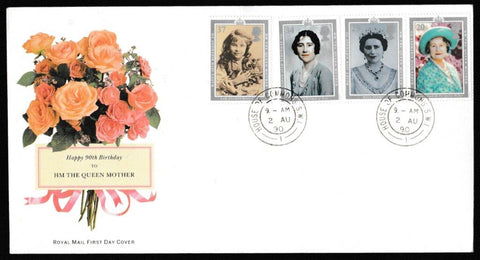 Great Britain First Day Cover, '90th Birthday HM The Queen Mother', Royal Mail, House of Commons, London, SW1, 02-Aug-1990